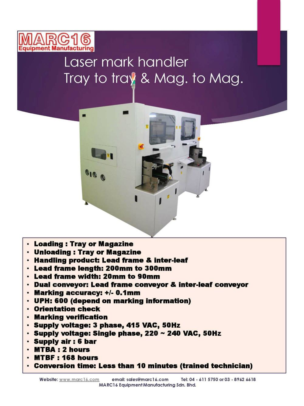 Laser mark handler - Leadframe - Conveyor type (Mag. to Mag.)