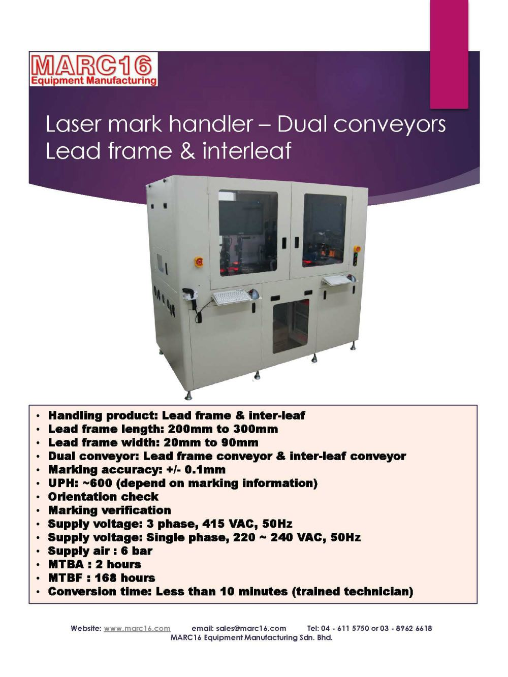 Laser mark handler - Leadframe - Dual conveyors