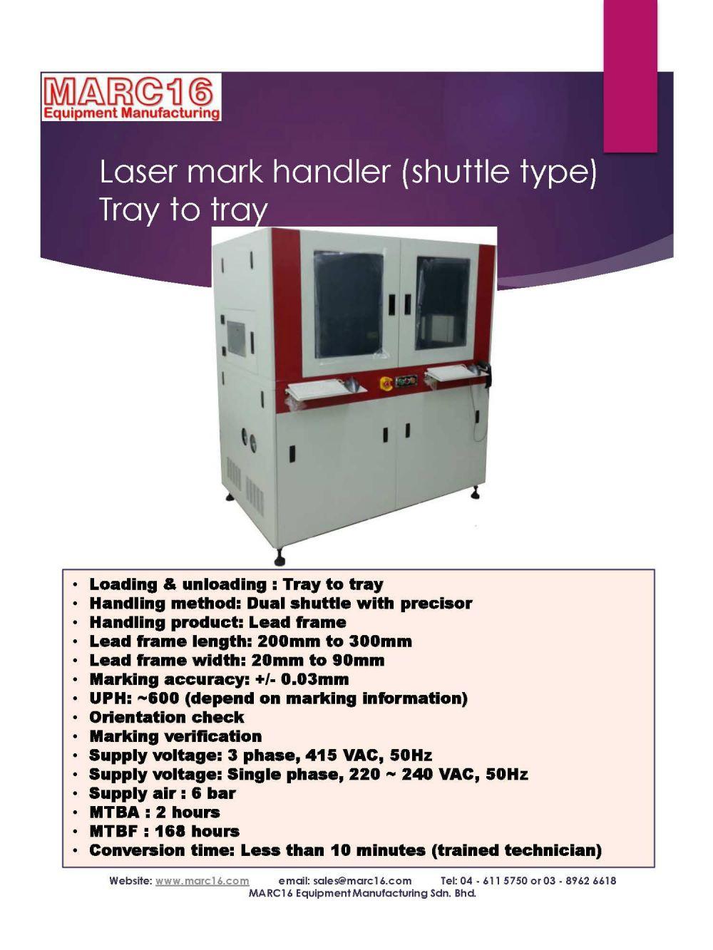 Laser mark handler - Leadframe - Shuttle type