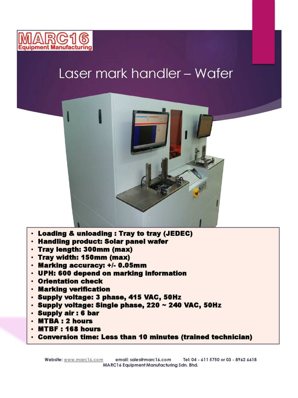 Laser mark handler - Tray to tray